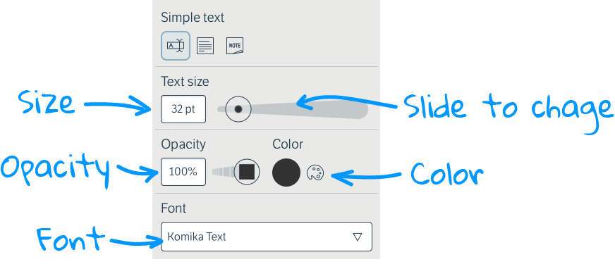 Add text to whiteboards