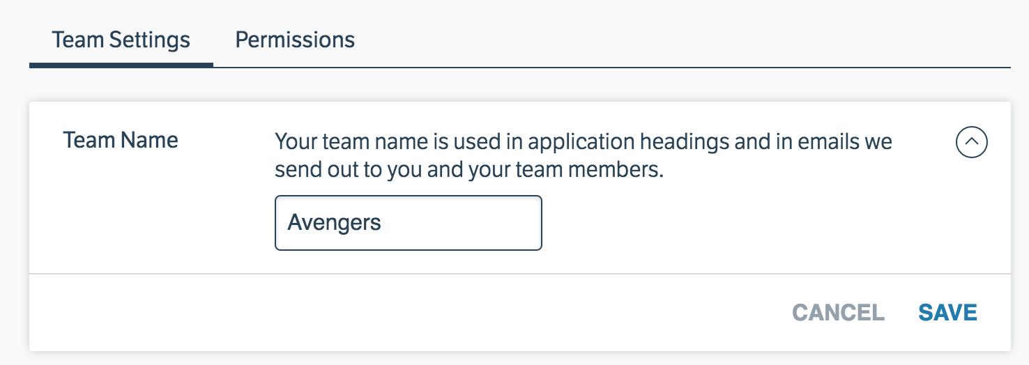 Edit team name